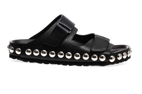 Giambattista-Valli-Studded-Black-Leather-Flat-Sandals